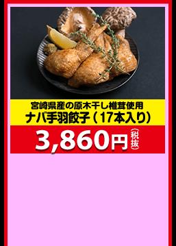 宮崎県産の原木干し椎茸使用 ナバ手羽餃子(17本入り) 3,860円(税抜)