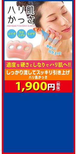 しっかり流してスッキリ引き上げ ハリ肌かっさ 1,900円(税抜)